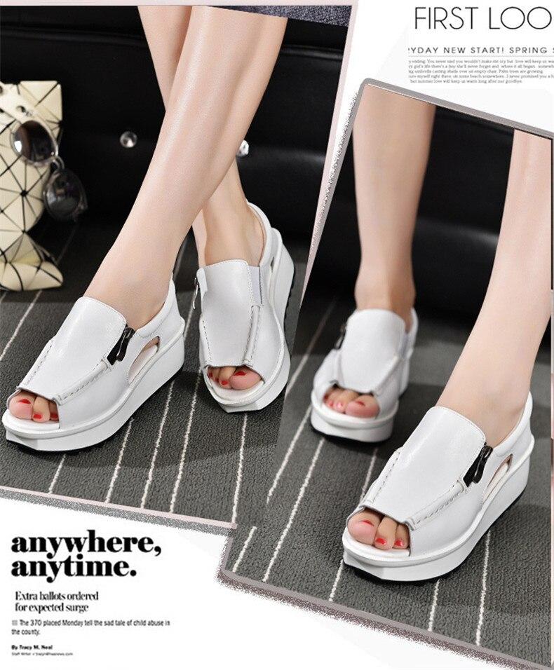 2019 Fashion Summer Women Sandals Wedges Sandals Ladies Open Toe Round Toe Zipper Silver White Platform Sandals Shoes (5)