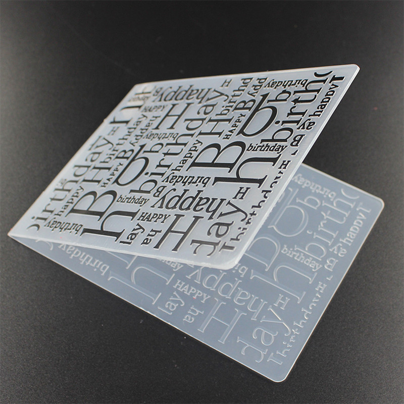 Letter Happy Birthday Plastic Embossing Mapper til DIY Scrapbooking Embossing Paper Craft Card Making Decoration Supplies
