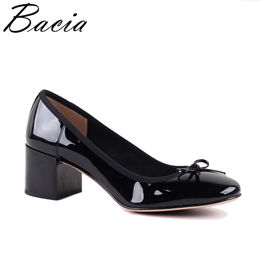 Bacia Women Shoes Black Patent Leather Ladies High Heels Shoes With Bowknot thick Heel Pumps Genuine Leather Lady Shoes SB075 ноутбук hp 15 bw533ur amd a6 9220 15 6 1366x768 4 500hdd dvd rw amd radeon r4 win 10 home
