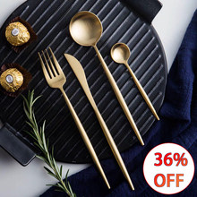 304 Stainless Steel Western Silverware Cutlery Set Noble Fork Knife Dessert Dinnerware Kitchen Food Tableware Pure Gold Coffee(China)