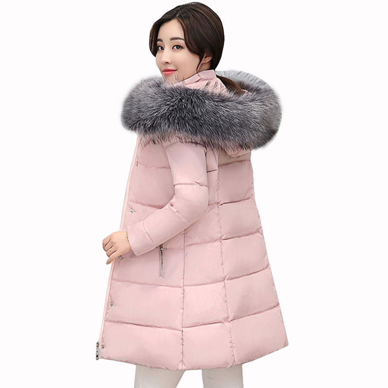 Snow warm winter cotton coats jacket Plus Size women warm 2017 parka Thick long hooded big Fur Collar cotton coats jacket QH0594 winter jacket female parkas hooded fur collar long down cotton jacket thicken warm cotton padded women coat plus size 3xl k450