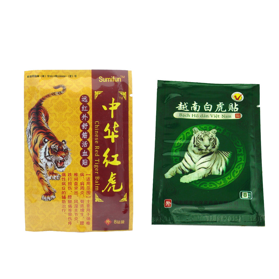 8Pcs White Tiger+8Pcs Relaxation Health Car Chinese Red Tiger Plaster Muscle Massage  Herbs Medical e Plaster Joint Pain D0050 25 pair herbal detox foot pad patch massage relaxation herbs medical health care plaster treatment joint pain improve sleep rp2
