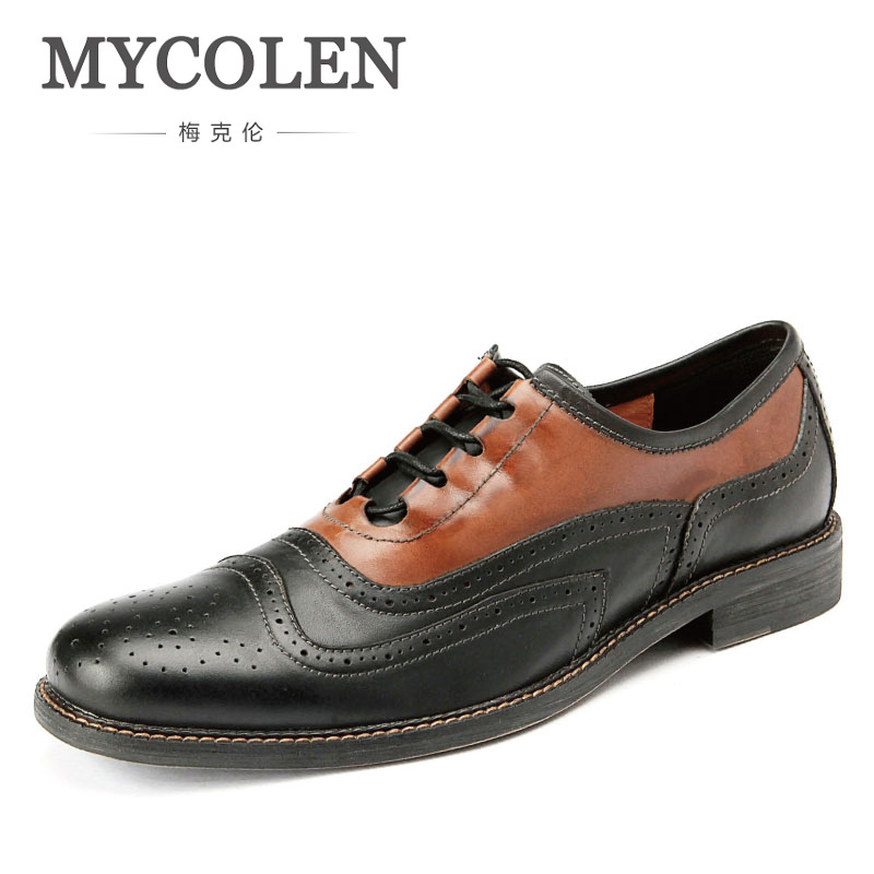 MYCOLEN New Luxury Leather Brogue Mens Flats Shoes Casual British Style Men Fashion Brand Dress Shoes For Men Leather Shoes 2015 new fashion british martin causal genuine leather men shoes brand camel men shoes real leather men flats casual shoes man
