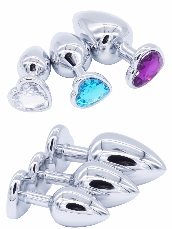 (3PCS) Heart Crystal Butt Plugs