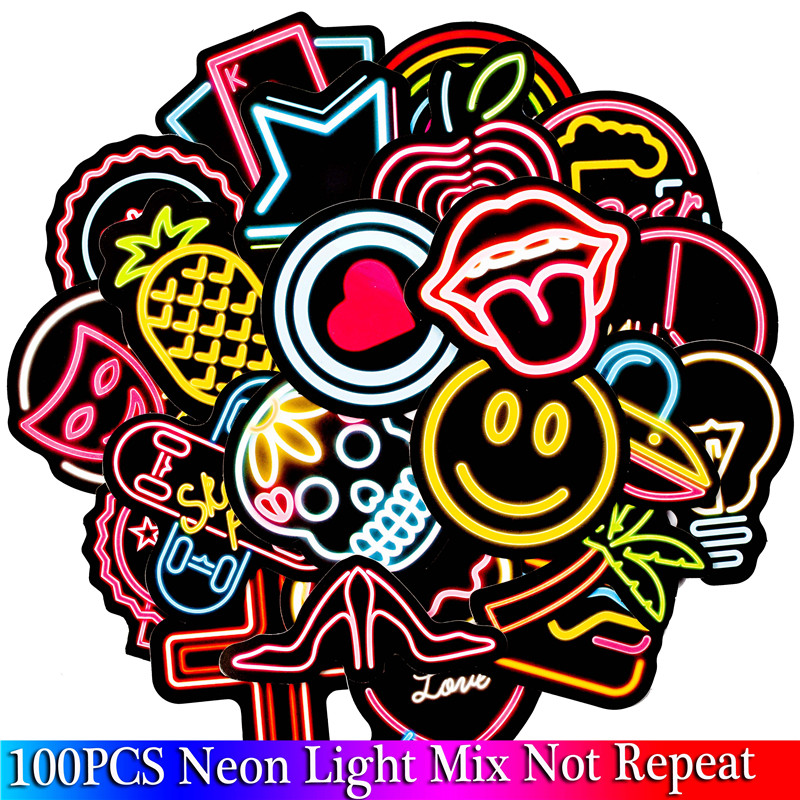 100 PCS Neon Light Sticker Anime Icon Animal Cute Decals Stickers Gifts for  Children to Laptop Suitcase Guitar Fridge Bicycle