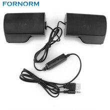 FORNORM Barra de sonido estéreo portátil para ordenador, barra de sonido estéreo con cable USB para ordenador portátil XP Vista Win 7 Mac y OSX