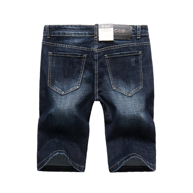 2019 Summer Fashion Men's Shorts High Quality Dark Blue Color Slim Fit Elastic Ripped Short Jeans Stretch Denim Shorts Men