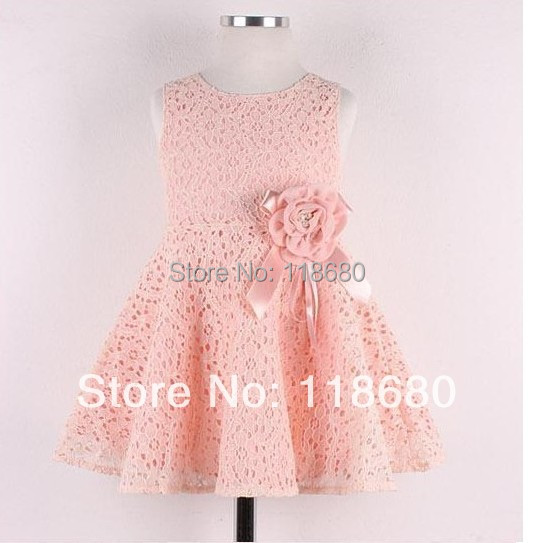 Free shipping new 2014 summer dress kids clothes baby girls flowers princess dress child sleeveless lace dress girl party dress 6 size new 2014 summer baby