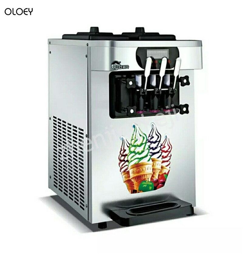 Comercial Máquina de sorvete De três-cabeça Desktop três-color soft ice Cream Máquina de todo o Aço Inoxidável ice Cream máquina