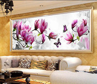5D DIY Flower Butterfly Cross Stitch Kit Embroidery Wall Stickers Diamond Painting Home Decor