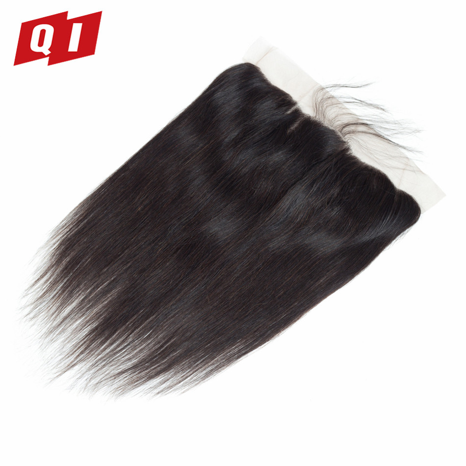 QI Hair Lace Frontal Closure Peruvian Non-Remy Straight 13*4 Middle/Free/Three Part Human Hair Closure Natural Color 8-20