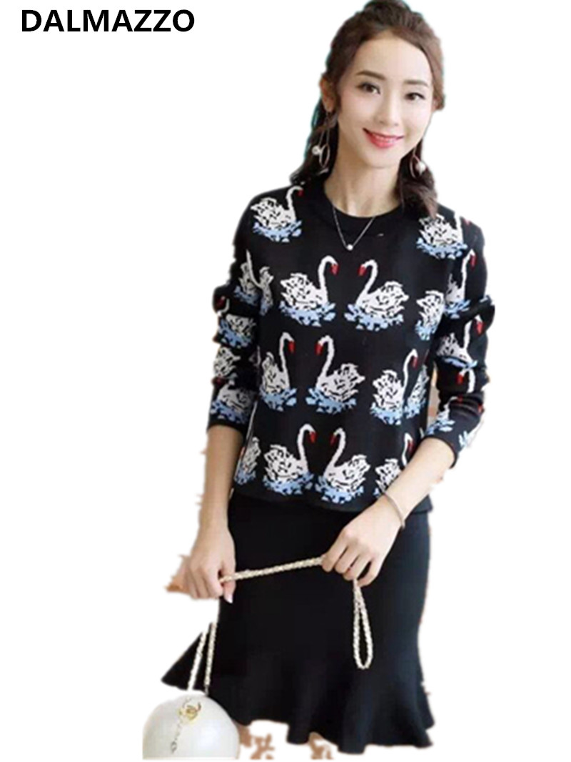 2018 New Autumn Winter Christmas Knitting Costumes For Women Suits Runway Pullovers Sweaters Fishtail Swan Skirt 2 Pieces Sets