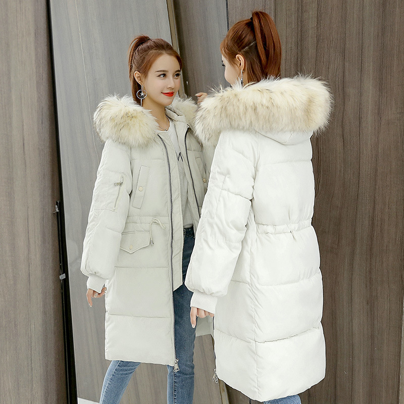 Winter Big fur collar Women   Parkas   Jacket Coats Slim long Down cotton Hooded Overcoat Loose Lady Thick Warm Jacket Plus size 3XL