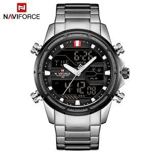 Image 5 - NAVIFORCE luksusowe mężczyźni analogowy zegarek kwarcowy Sport moda wojskowy odkryty wodoodporny Chrono EL podświetlenie cyfrowe zegarki na rękę 9138