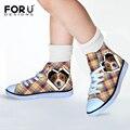 FORUDESIGNS Cachorros Perros Impresión de Lona para Las Muchachas Estudiantes Rosa Dot Kwaii Zapato Al Aire Libre Atan Para Arriba Los Zapatos de Regalo Chiristmas