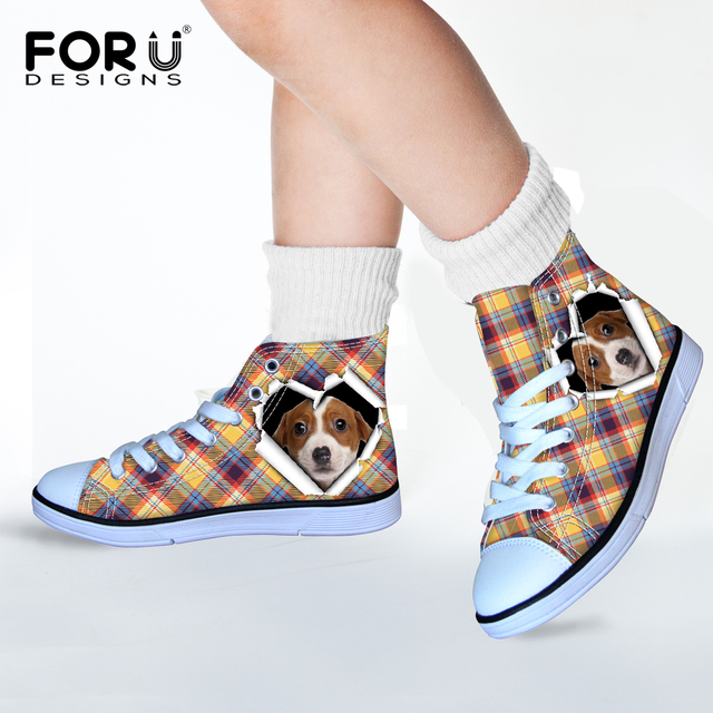 FORUDESIGNS Puppies Dogs Printing Canvas Shoes for Girls Pink Students Dot Kwaii Shoe Outdoor Chiristmas Lace Up Shoes Gift