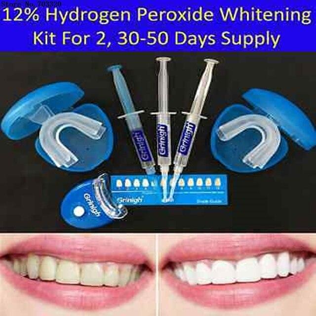 Grinigh 12 Peroxido De Hidrogenio Dentes Branqueamento Kit Com Luz