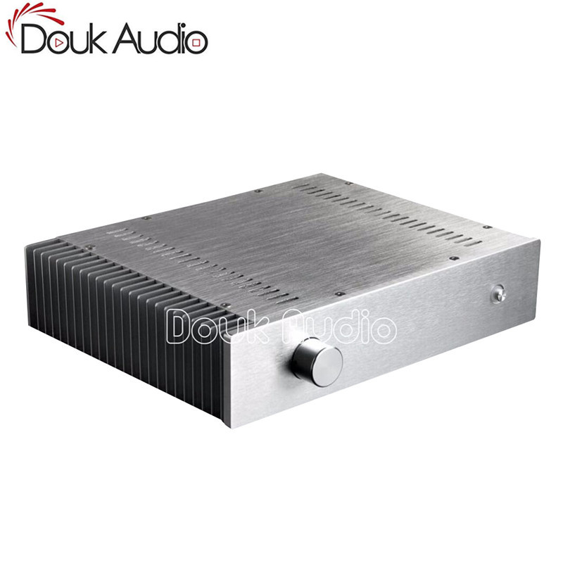 Douk Audio Silver Aluminum Enclosure Power Amplifier Chassis Unilateral Heatsink DIY Case все цены