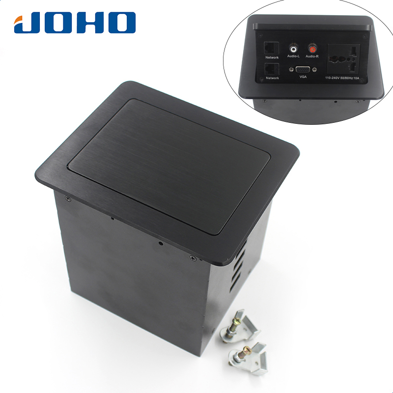 JOHO 10A Desk Socket Table Pop-up Outlets Universal Socket, 2 Datas, VGA, Audio-L & Audio-R Inserts Desktop Power SocketJOHO 10A Desk Socket Table Pop-up Outlets Universal Socket, 2 Datas, VGA, Audio-L & Audio-R Inserts Desktop Power Socket