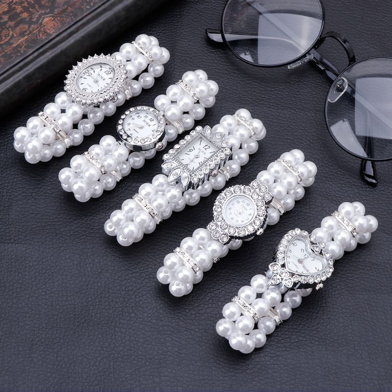 Women Watch Simulated Pearl Rhinestone Luxury Elegant Wrist Band Bracelet Jewelry Gifts Lady Elastic Universal Charms