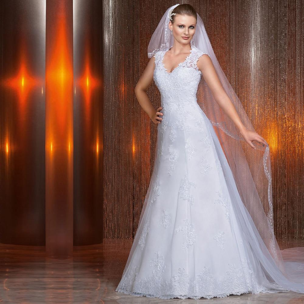 2016 White V Neck Vintage Wedding Dress Open Back A Line