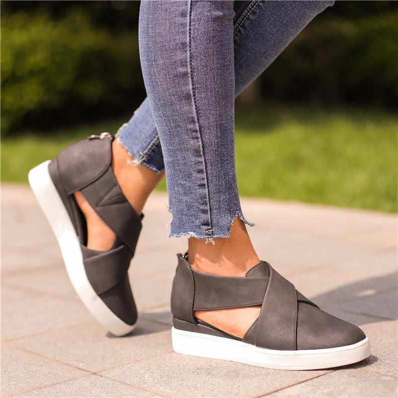 SHUJIN ผู้หญิงเพิ่ม Wedges Vulcanized รองเท้าฤดูใบไม้ร่วงตัดซิปหญิงรองเท้าผ้าใบ Suede สุภาพสตรีรองเท้าแฟชั่น