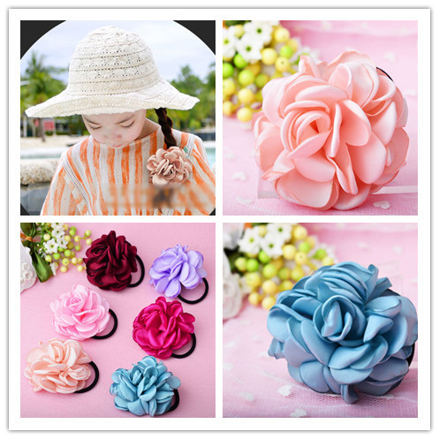 2016 Popular Headband Flower Elastic Hair Ties Ropes Satin Floral Rubber Bands Fashion Hair Accessories