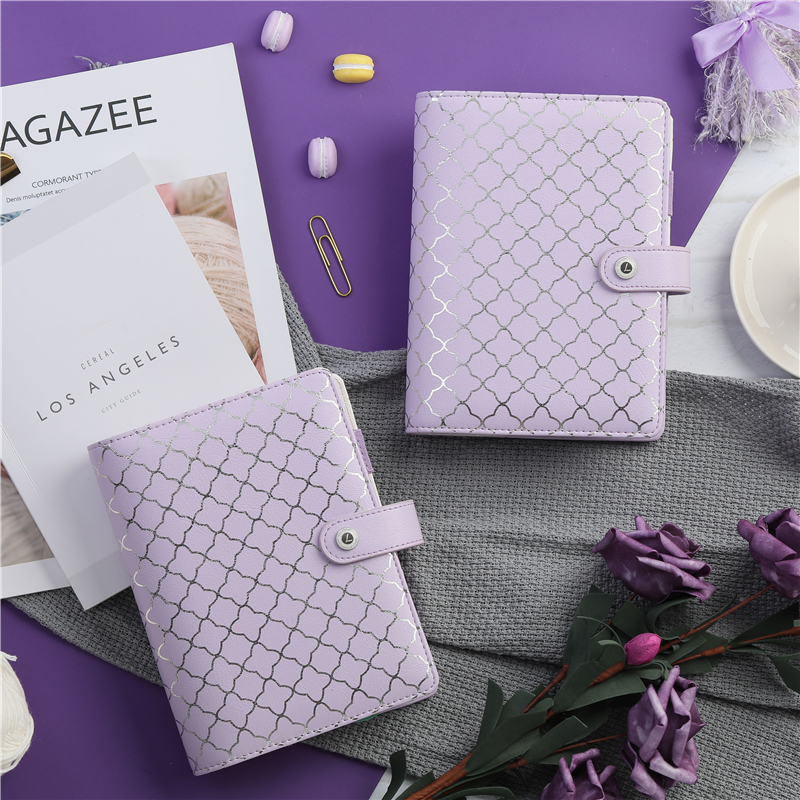 Lovedoki Luxury Purple A6 Notebook Journal Book 6 Hole loose Leaf Binder planner Diary Stationery Store Office & School Supplies tutu lovedoki foil gold notebook 2018 a6 planner traveler s notebook personal diary gift stationery store school supplies g0002