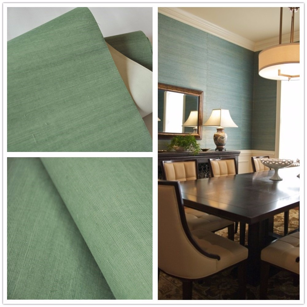 Us 35 0 Sisal Grasscloth Wall Paper Green Wallpaper For Home Decoration Hotel In Wallpapers From Home Improvement On Aliexpress