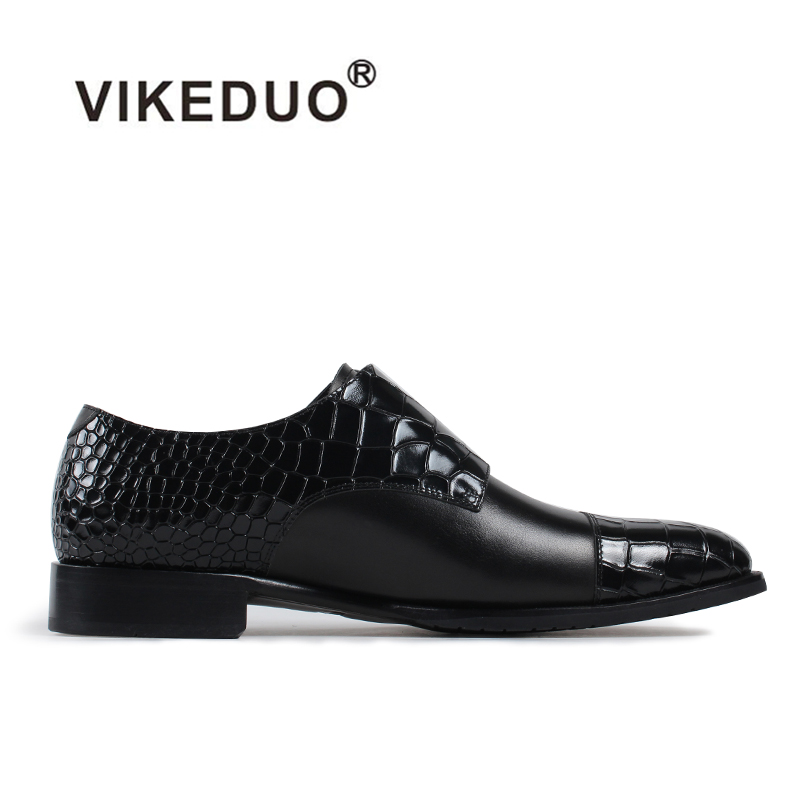 Vikeduo 2017 Handmade Crocodile shoe Men Genuine Leather Shoe Dress Wedding Party Classic Black Original Design Mens Monk Shoes 2017 vintage retro custom men flat hot sale real mens oxford shoes dress wedding party genuine leather shoes original design