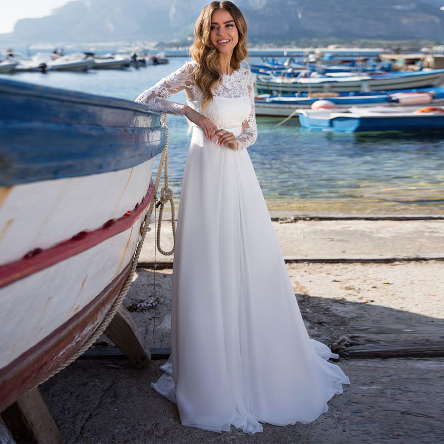 Lace Long Sleeves Beach Wedding Dresses 2019 Chiffon Boho Wedding Dresses Bridal Gowns Country Bride Dress