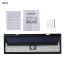 102 Beads LED Solar Power Wall Lamp Motion Sensor Light With 270 Degree Wide Angle Black Color