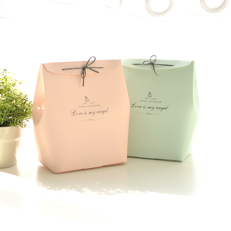 1pc Solid Color Simple Birthday Gift Bag Kraft Paper Large Box Reticule Holiday Party Supplies