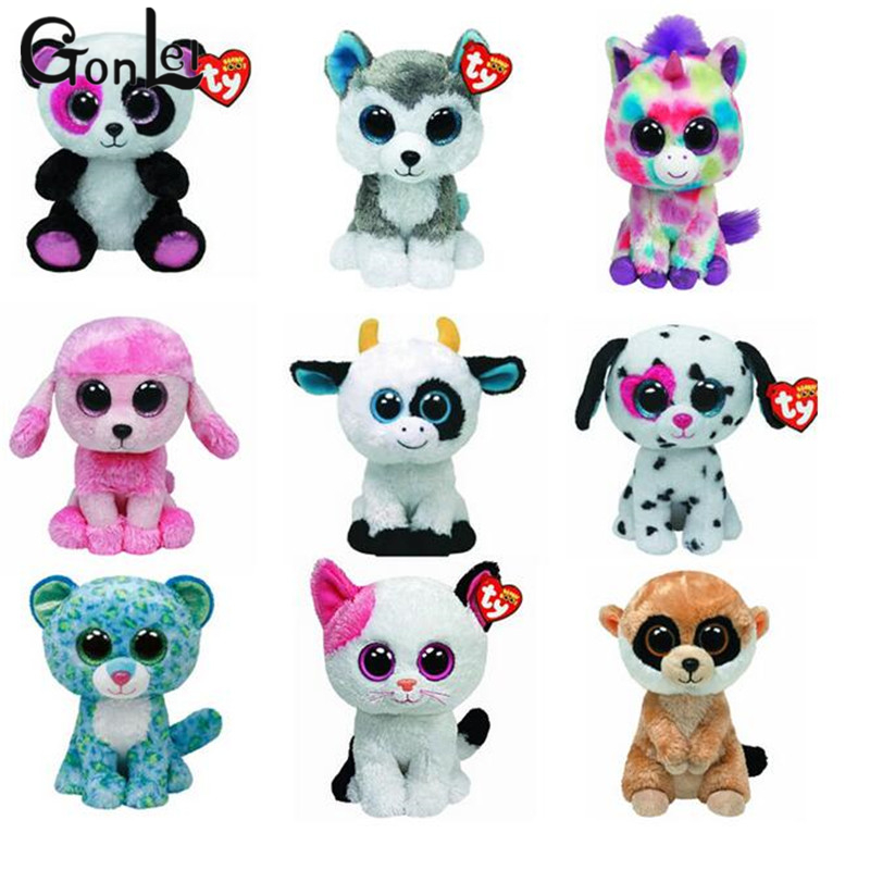 GonLeI 1X Beanie Boos Original TY Big eyes plush toys owl sheep dog cat frog elephant squirrel monkey rabbit tiger ty collection beanie boos kids plush toys big eyes slick brown fox lovely children gifts kawaii stuffed animals dolls cute toys