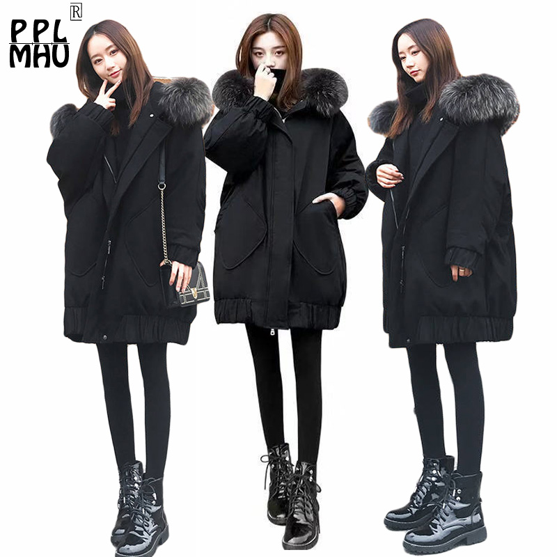 Big Size Women Jackets   parka   Winter 2019 female Jacket Warm fur hoodies women's long   parkas   Loose Ladies winter cotton coat
