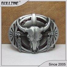В Bullzine Западная бык голова пряжки ремня с оловянной отделкой FP-02229-2 подходит для 4 см ширина оснастки на ремень