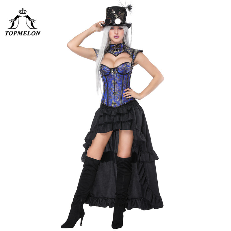 Gothique Floral Out Jupes Femmes Rayé Topmelon Corsets Bustiers Hauts Ensemble 2018 Et As Cut Nouveau Steampunk Picture Longue amp; Jupe De Picture as Corset Sexy 7qd6wq
