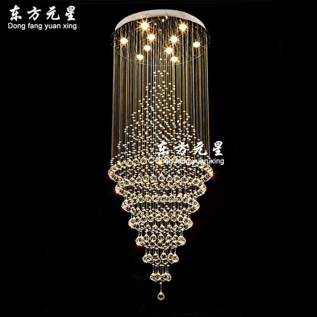 Online shop crystal chandelier led lamp stair light droplight villa crystal chandelier led lamp stair light droplight villa double entry long circular crystal lighting for the lobby mozeypictures Gallery