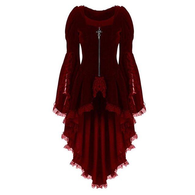 Autumn Elegant Plus Size Party Gothic Chic Long Blouse Women Red Slim Zipper Lace Plain Tops Female Vintage Fashion Goth Shirts 1