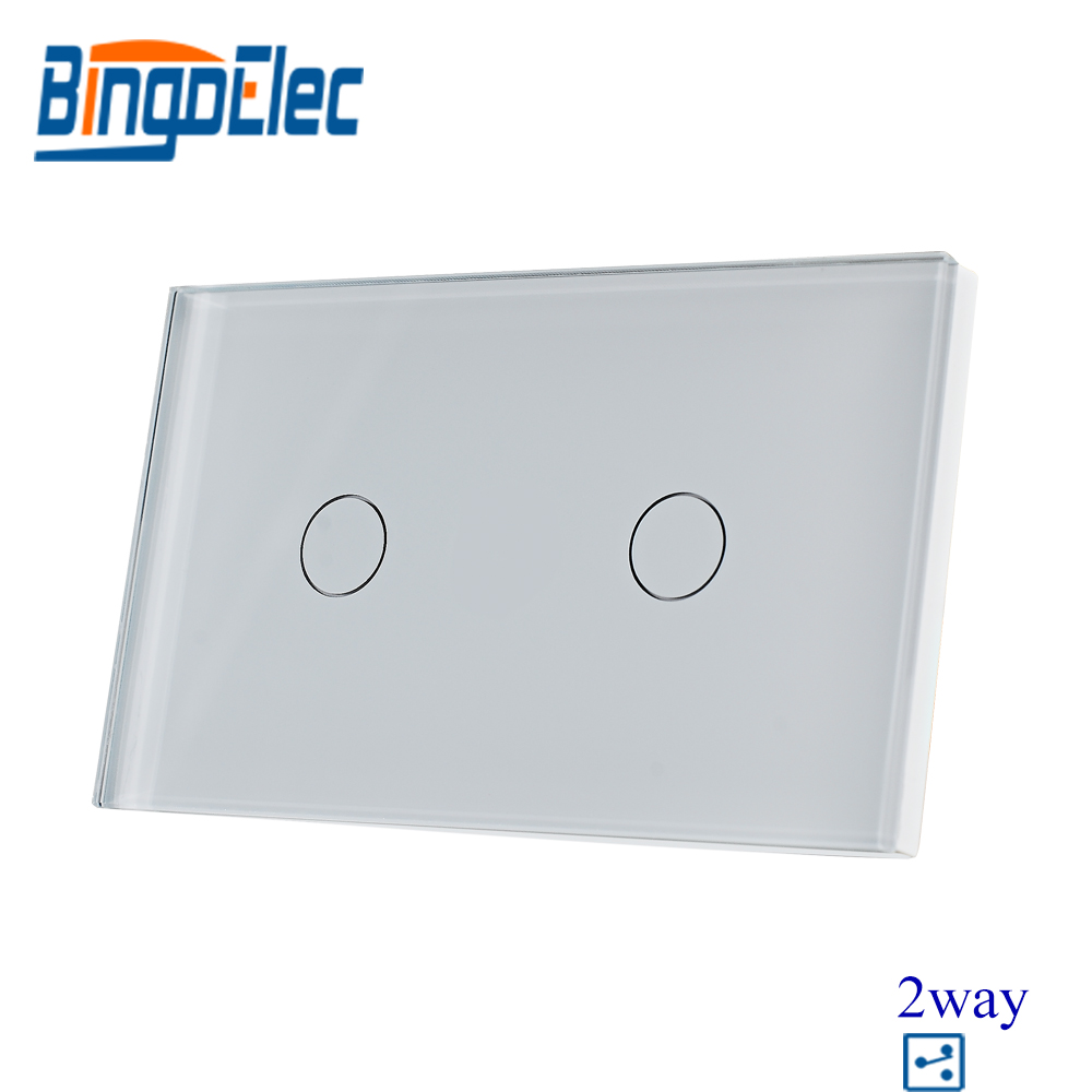 Bingoelec US/AU Standard White Crystal 2gang 2way Toughened Glass Panel Touch Switch,Electric Wall Light Switch,Good Quality