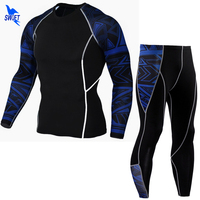 Men S Sports Running Set Compression Shirt Pants Skin Tight Long Sleeves Quick Dry Fitness Training