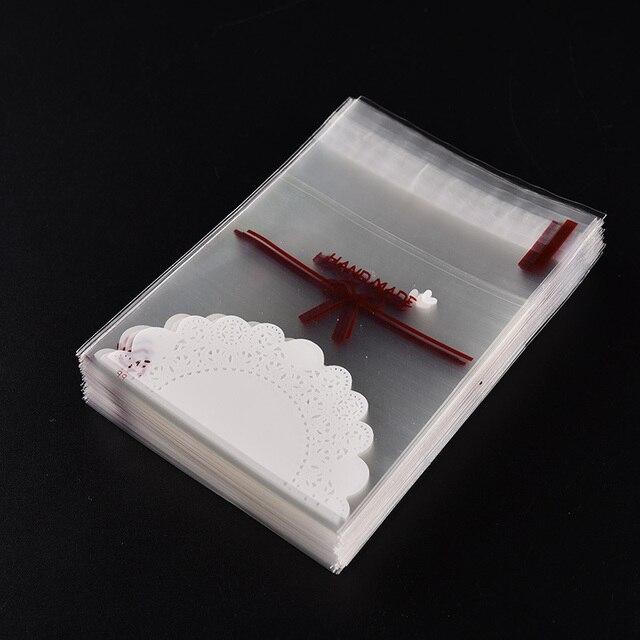 Bolsas de regalo con lazo de encaje de 100 piezas, bolsas de plástico autoadhesivas para galletas y pasteles paquete