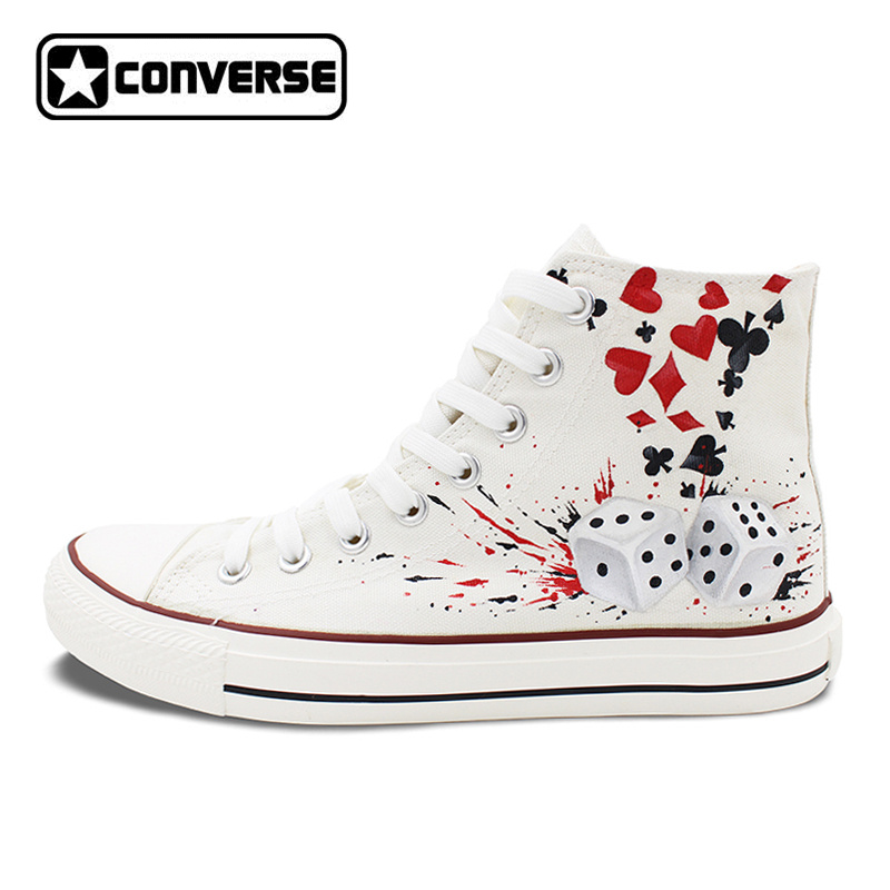 Custom Design Converse All Star Sneakers Poker Dice Hand Painted Canvas Shoes White Snea ...