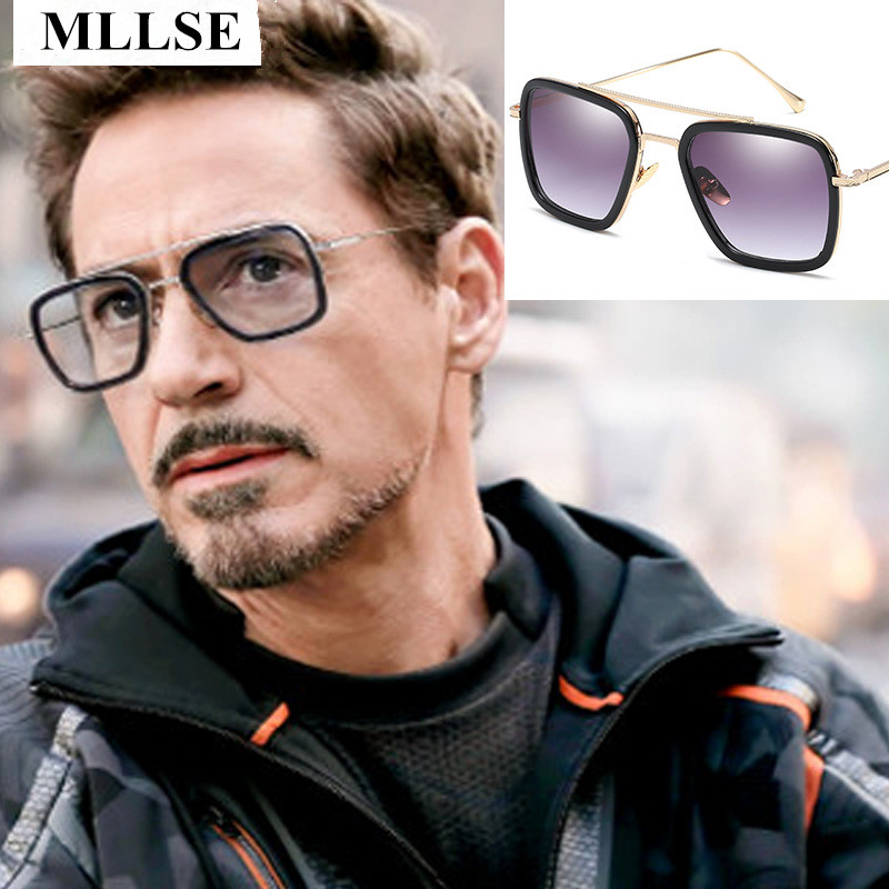 Male Iron Man 3 Sunglasses Tony Stark Matsuda Sunglasses Men Retro Vintage Eyewear Square Sun Glasses Oculos Masculino Gafas de