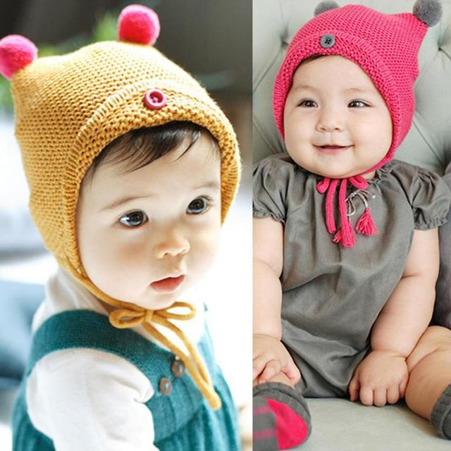 2017 Baby Hats With Ears Cute Baby Toddler Kid Boys Girls Button Fur Ball  Knitted Winter Warm Hat Cap lowest price 94a1843e081