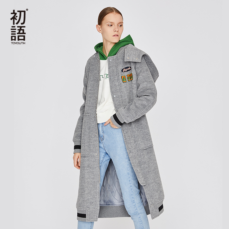 Toyouth Black Womens Wool Coats Long Sleeve Solid Coat Loose  Casual Trench Hooded Coat Abrigos Mujer Invierno Female OutwearWool