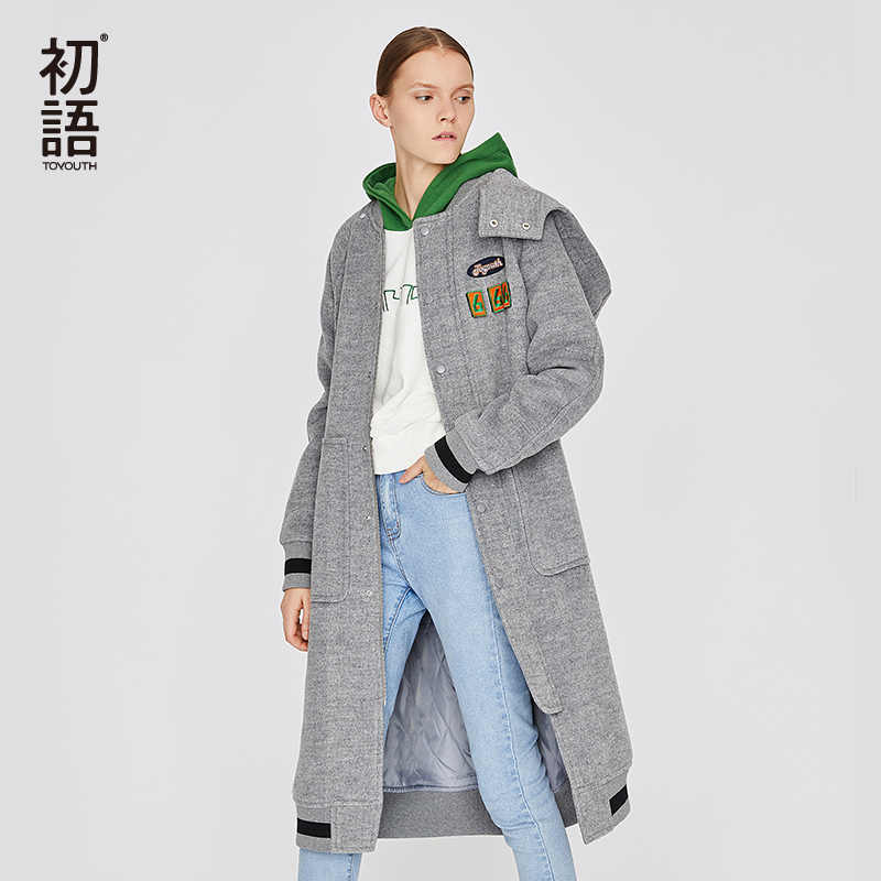 Toyouth Black Womens Wool Coats Long Sleeve Solid Coat Loose Casual Trench Hooded Coat Abrigos Mujer Invierno Female Outwear
