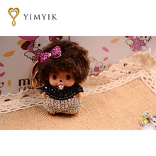 YimYik New cartoon Imitated Crystal  Monchhichi keychain key ring chain women bag charm car pendant porte clef gift