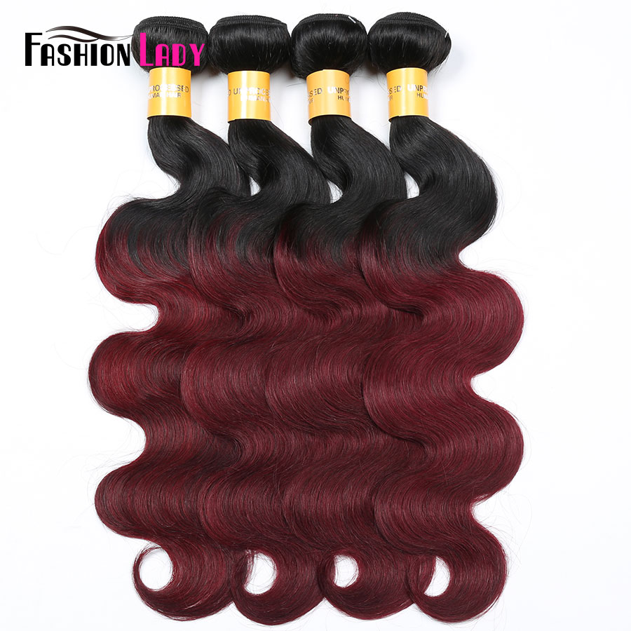 Fashion Lady Pre-Colored Brazilian Body Wave 4 Bundles 1B 99J Two Tone Human Hair Weave Red Ombre Hair Bundles Non-Remy
