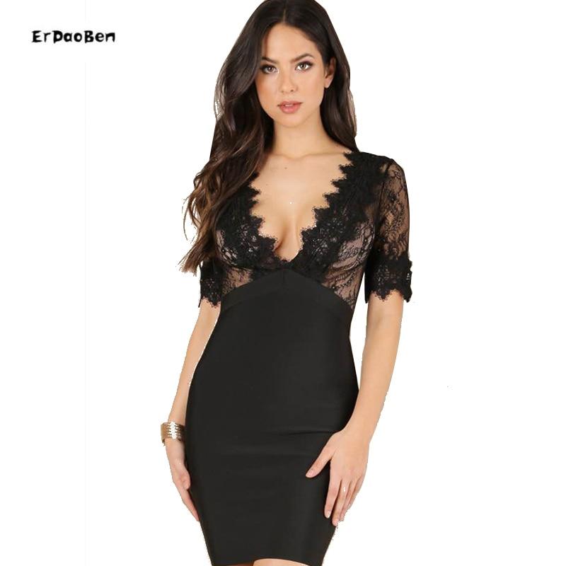 High Quality Women Summer Sexy Lace Black Bandage Dress 2017 Knitted Elegant Designer Dress женское платье summer dress 2015cute o women dress